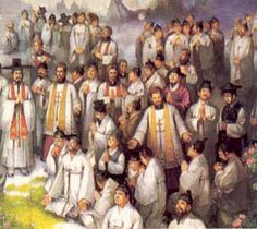 SS. Andrew Kim Taegon, Paul Chong Hasang & companions (98 Koreans and 3 French missionaries) martyred between 1839-1867. Andrew: first Korean-born Catholic priest, tortured & beheaded. Another martyr Columba Kim: pierced with hot tools & seared with burning coals. A boy of 13, Peter Ryou: his flesh was so badly torn that he could pull off pieces and throw them at the judges. He was killed by strangulation. Their faith was so strong that they withstood wave after wave of fierce persecution.