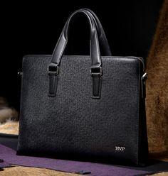 "BVP - Mens Business Genuine Leather Business Briefcase Portfolio Tote Attache Fashion Messenger Bag Black 15"" laptop Case J30"