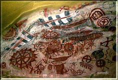 Painted Cave rock art of the Chumash Indians in the hills above Santa Barbara, California. As child, i lived on Old San Marcus Road the road on the way up to these cave paintings Chumash Indians, Fresco, Tempera, Cave Drawings, Native American Tribes, Native Americans, California History, Rock Artists, Ancient Aliens