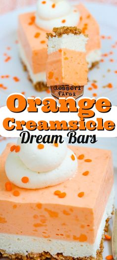 Orange Creamsicle Dream Bars - the perfect NO BAKE summer dessert! Taste buds will love the sugar cone crust, cheesecake layer, and orange cream topping!