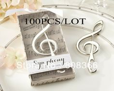 Huwelijksgunsten gift muziek noot symfonie chroom flesopener partij gunst door uitdrukkelijk 100pcs/lot