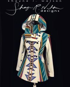 Pendleton design jacket by Shayne Watson, Dine designer Native American Clothing, Native American Fashion, Native Fashion, Pendleton Clothing, Native Wears, Pendleton Jacket, Native Design, Boho Stil, Native Style