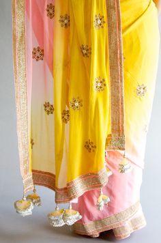 Yellow and Pink Saree Indian Wedding Outfits, Indian Outfits, Mellow Yellow, Pink Yellow, Saree Tassels, Simple Sarees, Elegant Saree, Indian Couture, Pink Saree