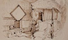Beatrix Potter's line drawing of the chamber room in Melford Hall. (And other drawings at this link!)