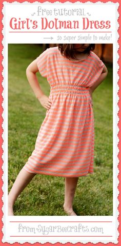 Super Simple Girl's Dolman Dress - Sugar Bee Crafts