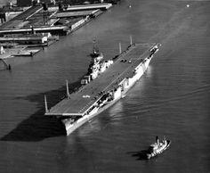 USS Hornet. CV-12, leaving Norfolk Navy Yard. Dec.19 1943. American Aircraft Carriers, Uss Hornet, Us Navy Ships, Submarines, Battleship, Norfolk, Ww2, Favorite Things, Yard