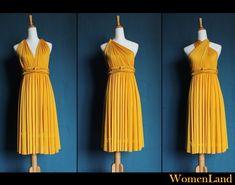 Golden Yellow Knee Length Infinity Wrapping Dress Convertible Woman Dress Wedding Bridesmaid Dress Tailor Made Plus Size Women Short Dresses. $68.00, via Etsy.