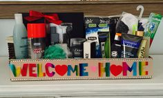 wallpaper: Welcome home basket military homecoming carepackage Army Wife Military welcome home Welcome Home Boyfriend, Military Welcome Home, Welcome Home Soldier, Deployment Gifts, Military Deployment, Military Gifts, Military Spouse, Military Party, Homecoming Signs
