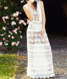 Maxi evening wedding long hippie boho crochet sexy dress lace women white made to order flower by CopperLife on Etsy