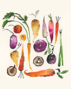 Items similar to Autumn Veggies on Etsy Watercolor Food, Watercolor Projects, Watercolor Artwork, Watercolor Artists, Illustration Botanique, Botanical Illustration, Illustration Art, Motif Floral, Arte Floral
