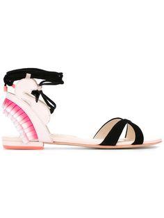 SOPHIA WEBSTER ruffled detail flat sandals. #sophiawebster #shoes #
