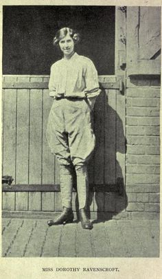 Miss Dorothy Ravenscroft, a high society British woman whose pre-war experience as a sports woman and avid rider, led to her being entrusted with the running of a British remount depot where horses were rested and trained behind the front lines.