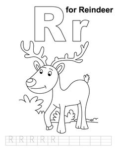 r for reindeer coloring page with handwriting practice - Kindergarten Coloring Page