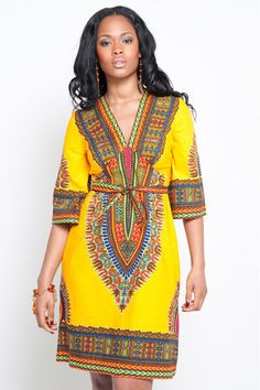 Dashiki diva - this relaxed cut African print dress is perfect for relaxing at the weekend, out shopping or on holiday. Available from http://sapelle.com