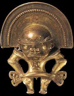 Gold pendant Tairona culture Colombia