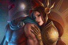 LOL Pantheon and Leona by LidTheSquid.deviantart.com on @deviantART