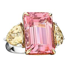 Pre-owned Rare Pink Tourmaline Zircon Gold Ring ($14,950) ❤ liked on Polyvore