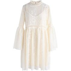 Chicwish Endless Floral Romance Crochet Dress in Cream (3.500 RUB) via Polyvore featuring dresses, beige, macrame dress, pink floral dress, chicwish dresses, pink dress и crochet dress