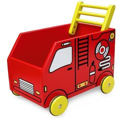 Baby Walker Wagon Fire Engine by Marbel Wooden Ride On Toys, Wood Toys, Toddler Toys, Baby Toys, Kids Toys, Gifts For Autistic Children, Push Toys, Toy Storage Boxes, Travel Toys