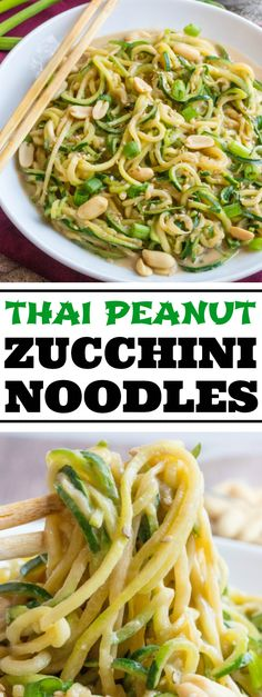 Spiralized zucchini pairs with a spicy and sweet peanut sauce to create these Thai Peanut Zucchini Noodles giving you a healthier, flavorful option.