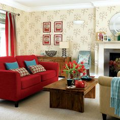 A light, airy room, with a red sofa Red Couch Decor, Trendy Living Room Wallpaper, Home N Decor, Home, Living Room Red, Contemporary Living Room, Cheap Home Decor, Cosy Living Room, House And Home Magazine