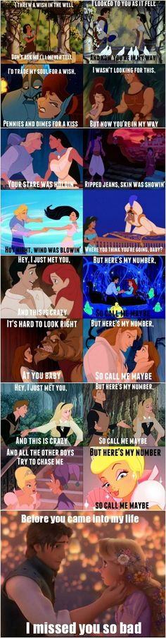 Call me  maybe song.   And Disney Characters.