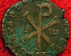 Depicting christogram on reverse(early Christian symbol) Early Christian, Christian Life, Chi Rho, Cross Symbol, Christian Tattoos, Christian Symbols, Old Coins, Art Themes, Medieval Art