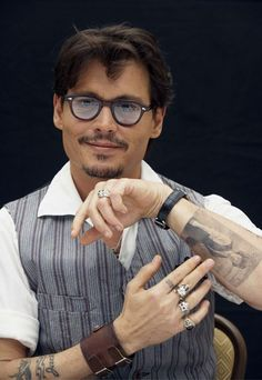 The perfect eye candy!! Johnny Depp, male actor, celeb, glasses, hands, fingers, stylish, beard, powerful face, intense eyes, portrait, photo