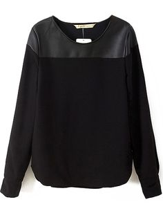Sweatshirt cheap at romwe.com .Save 60% on 1st order .This is a black sweat shirt ,not hooded sweatshirt ,but PU contrast pullover .Also sweatshirt men here !