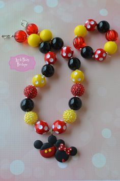 Minnie Mouse and Mickey Mouse Heart Bow-tique Bowtique Disney Chunky Bubblegum Necklace on Etsy, $19.50
