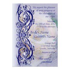 "Elegant Scroll Wedding Invitation - Navy Blue 3 5"" X 7"" Invitation Card"