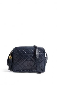 Navy Leather Quilted Chanel Camera Bag By Vintage Heirloom
