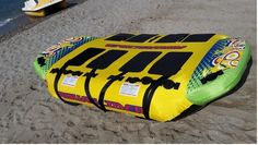 Aquaslider is a lie on top towable, created to give you fast and safe rides.  It has 3 extra strong towing points and it is suitable for up to 4 persons  It has a heavy-duty double layer nylon cover and o full PVC bottom that makes it slide fast and be steady on waves  We are sure that this towable will give you extreme and safe rides