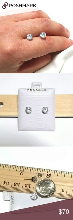 New Solid Real 10K White Gold earrings -Brand new~ -Genuine, authentic, real, SOLID 10K white gold earrings -14k gold FILLED clutches (only the clutches! SOLID 10k earrings) -6mm round-cut brilliant CZ stones -10mm long posts -Stud post w/ butterfly style clutches -Round, low height, faceted setting. & Snap fit prongs (if you find other stones in this size & style, you can easily pop them out and replace them without help of jeweler)  10KT 10 K KT 10CT stamped Jewelry Earrings
