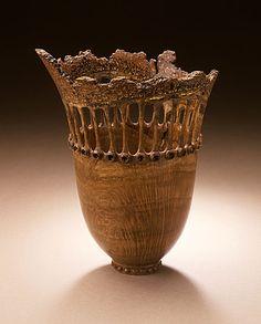 Frank Cummings III     Vessel, circa 1989, Chittum wood, ivory, gold, baguette garnets