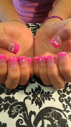 Shidale nails! Hawt hott hot pink nails w/ hearts! Love