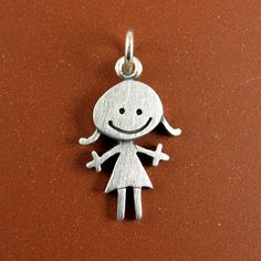 Happy girl pendant by StickManJewelry on Etsy, $22.00