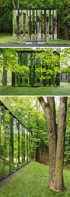 """This modern detached out-building, or """"shiny shed"""", has been designed for storage and it almost dissolves into the woods by showing reflections of its surroundings. #Shed #Mirrored #Architecture"""