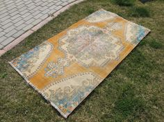 Turkish Oushak Rug from central of Turkey  appx it is like 60 years old.  full condition no repair.. ready to use at home or at the Office..  cotton on wool combination colors are organic dye . dyed by turkish villagers  colorfull piece for living room or dining room  SIZE 31.4 X 103.9( 80 CM X 264 CM)