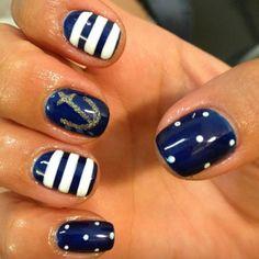Sailor chic gel manicure via #nailart done by @polishedbtq - Nail Art Craze