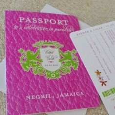 Hot pink and kelly green make a bold statement in this Jamaican Crest Passport Wedding Invitation (Negril, Jamaica). The custom crest features your names and wedding date -- a wedding logo you can use on other wedding items too!