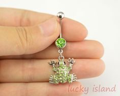 belly ringfrog belly button jewelrygreen belly by luckyisland, $4.99