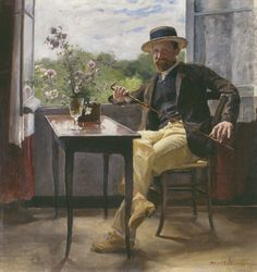 Portrait of the painter Georg Pauli, 1886/1887 by Hanna Pauli (Swedish 1864-1940)....painted by the sitter's wife...