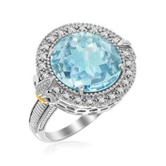 18K YELLOW GOLD & STERLING SILVER ROUND BLUE TOPAZ AND DIAMOND FLEUR DE LIS RING
