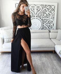 Long Prom Dress,Two Piece Prom Dresses,High Slit Evening Dress,Sexy Prom Dress with Full Sleeve,Sheer Prom Dress