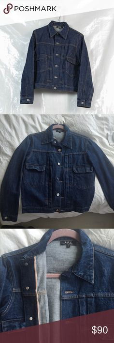 A.P.C selvedge denim jacket worn at least 10 times. Jacket is in perfect condition with MUCH life left. I think I got a men's medium, which C was a little broad on my shoulders (I'm a true women's M) but fit a bit oversized so I was into it. comment for reasonable offers APC Jackets & Coats Jean Jackets