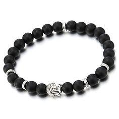 Matt Black Onyx Mens Boys Stretchable Bead Bracelet with Buddha Charm Tibetan Buddhist Prayer Mala >>> Click for Special Deals #BuddhistPrayer Buddhist Prayer, Special Deals, Black Onyx, Buddha, Prayers, Beaded Bracelets, Charmed, Beads, Men