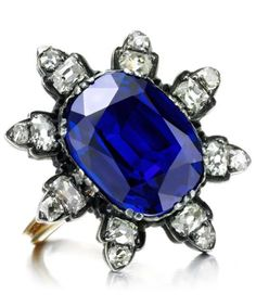 Antique Burmese Sapphire and Diamond Ring, of 10.00 carats, 19th Century