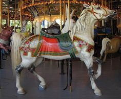 Celtic dapple grey carousel horse - Peddler's Village, PA