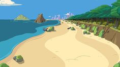 The Land of Ooo from Adventure Time Adventure Time Characters, Adventure Time Finn, Greatest Adventure, Adventure Time Background, Adventure Time Wallpaper, Environment Painting, Environment Design, Beach Illustration, Landscape Illustration